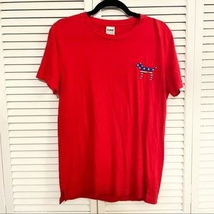 PINK Victoria's Secret Red White and Blue Shirt XS